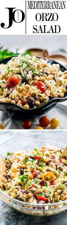 This Mediterranean Orzo Salad is bursting with delicious Mediterranean inspired flavors, packed with chickpeas, Kalamata olives, cherry tomatoes and feta cheese. It's colorful, refreshing and best of all ready in 20 minutes.