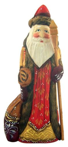 Wooden Hand Carved Santa in Gold Coat 6 Inch Russian Style Christmas Decoration | eBay