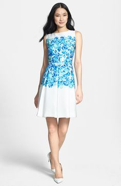 Tahari Floral Jacquard Fit & Flare Dress (Regular & Petite) available at #Nordstrom