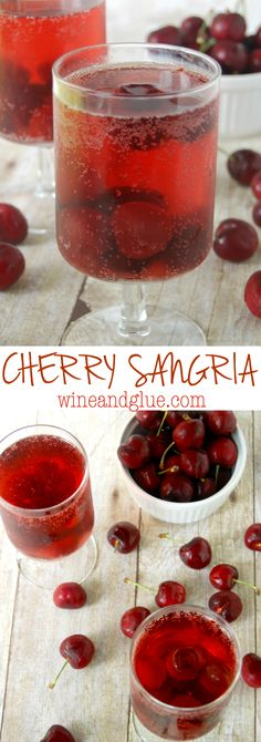 Just FOUR ingredients for this simple but irresistible Cherry Sangria! Mix together the wine, the amaretto, and the cherries and let sit overnight. Note that this recipe actually tastes best two days past making it, though it is delicious after one ni Sangria Wine, Wine Drinks, Moscato Sangria, Cocktail Drinks, Sangria Recipes, Punch Recipes, Martini Recipes, Smoothie Drinks, Smoothies