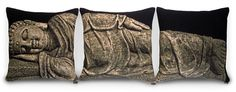 https://www.cityblis.com/3127/item/12557  Sleeping Buddah (RPS-1046 Moss), at 25.00% off by DQtrs  The Sleeping Buddah triptych of pillows will rest peacefully on your sofa or bed.  Made of woven jacquard in the USA. Limited edition of 100.