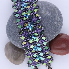 Image detail for -View Lean to make this crystal cuff using Tila Beads, Czech Twin and ...