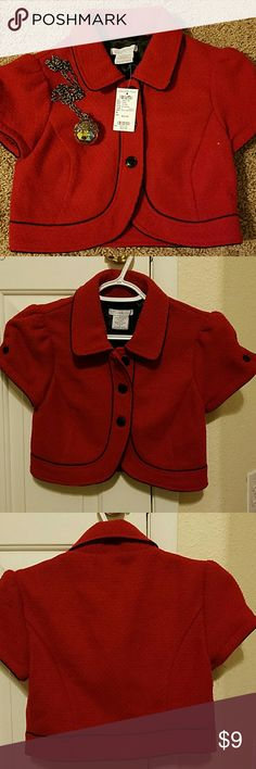 Charlotte Russe Dark Red Boucle Bolero Beautiful cropped short-sleeved, dark red Boucle Bolero Jacket. The sleeves have a lovely flare with black buttons. NWT Charlotte Russe Jackets & Coats