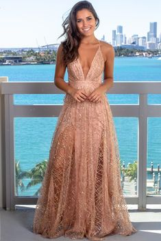 Make a memorable entrance in this dazzling rose gold sequin maxi dress. For more stunning boutique styles, check out our selection at Saved By The Dress. Formal Dresses Online, Pink Formal Dresses, Cute Dresses, Vestido Rose Gold, Rose Gold Skirt, Rose Gold Sparkly Dress, Ball Dresses, Evening Dresses, Prom Dresses