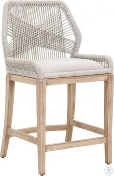 One Kings Lane Easton Outdoor Barstool - Smoke Gray Wicker Counter Stools, Woven Bar Stools, Rattan Bar Stools, White Bar Stools, Counter Height Stools, Counter Stools With Backs, Cool Bar Stools, Bar Stool Chairs, Bar Counter