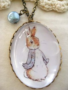 Tale of Peter Rabbit Necklace (beatrix potter. magnifying pendant. art book…
