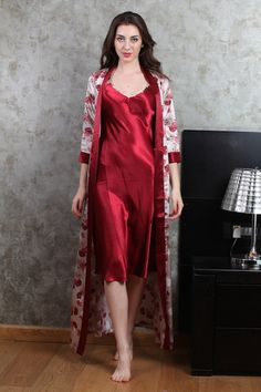 c279c20095 Luxurious Night gown set with printed floral gown and knee length sexy  nightie. Vikram Kapoor · Private Lives