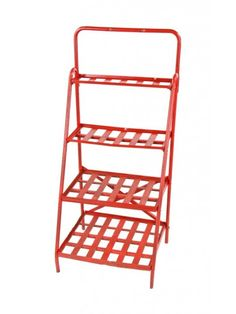 original c. late 1930's american depression era cherry red painted slanted front multi-tier corner store beverage display rack   URBAN REMAINS: great source for vintage stuff