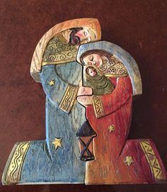 And I will be a father to you and you shall be sons and daughters to Me, says the Lord Almighty. Nativity Creche, Christmas Nativity, Christmas Art, Catholic Art, Religious Art, Wood Sculpture, Sculptures, O Holy Night, Grey Art