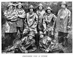 "Wet weather gear. Taken from an 1899 article ""Cavalry under Canvas,"" which tells of life in a military camp for the cavalry men."