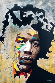 What if 6 turned out to be A geometric portrait of Jimi Hendrix Canvas Artwork, Canvas Prints, Geometric Painting, Geometric Shapes, Abstract Art, Art Plastique, Public Art, American Artists, Painting Prints