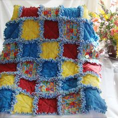 Baby Rag Quilt Animals Primary Colors