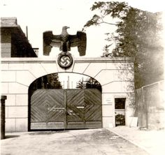 Dachau, Germany, April 1945, The entrance gate, after the liberation.