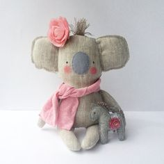 Plush Koala toy, baby toy Koala linen toy, cuddly cute baby koala. Neutral color and pink.  Baby shower, birthday gift