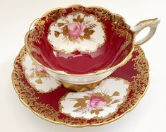 Stunning Raspberry Royal Stafford China Tea Cup and Saucer