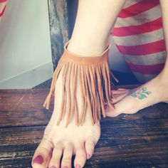 Coachella Leather Fringe Anklet Brown Bohemian by ThreeBirdNest, $28.00