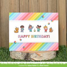 Lawn Fawn Intro: Tiny Birthday Friends, Confetti Stencils, Giant Happy Birthday and Giant Happy Birthday To You - Lawn Fawn Friend Birthday, Birthday Wishes, Happy Birthday, Birthday Celebration, Birthday Sentiments, Birthday Messages, All You Need Is, Lawn Fawn Blog, Beautiful Birthday Cards