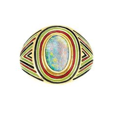 Arts and Crafts gold, black opal and enamel ring circa 1900.