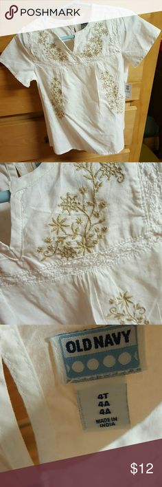 Embroidered shirt. New embroidered white shirt. Old Navy Shirts & Tops Blouses