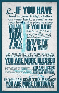 very good reminder to be appreciate what I DO  have...