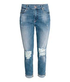 Boyfriend Low Trashed Jeans   Deniminsininen   Naiset   H&M FI