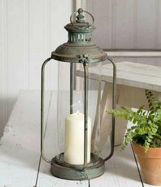 Primitive Rustic Noah/'s Glass Chimney Lantern Night Light