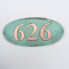 Oval House number plaque in patinated copper 4/100mm