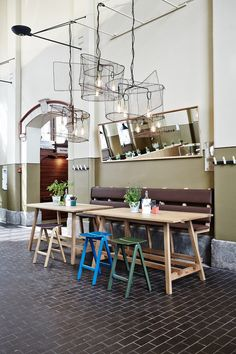 Atelier Globe lamps and cords by Frama and Copenhague bar stools by Hay. Story restaurant at the Old Market Hall in Helsinki. Interior design by Joanna Laajisto.
