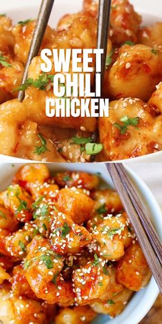 Sweet chili chicken is an easy recipe with crispy chicken and thai sweet chili sauce this chicken recipe is so good you will want to lick the plate! rasamalaysia com creamy coconut chicken curry Sweet Chili Chicken, Crispy Chicken, Honey Sesame Chicken, Sticky Chicken, Cashew Chicken, Keto Chicken, Tandoori Chicken, Tasty Videos, Food Videos