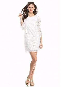 $128 Crown & Ivy White Circular Lace Scalloped 3/4 Sleeve Shift Dress 4 NWT C380 #CrownIvy #Shift #Cocktail