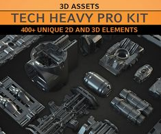 Tech Heavy Pro Kit - & Kitbash Set by David Edwards 2d, David, Tech, Technology