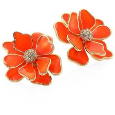 Kenneth Jay Lane Flower Crystal & Enamel Stud Earrings/Coral ($90) ❤ liked on Polyvore featuring jewelry, earrings, orange, coral earrings, enamel earrings, orange earrings, coral jewelry and orange coral earrings