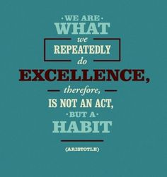 We are what we repeatedly do.  Excellence, therefore, is not an act, but a habit.  - Aristotle.