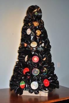 We love rock and roll - Vinyl record Xmas Tree!