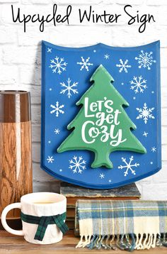 Sometimes you find a thrift store treasure that is PERFECT for Christmas, but December slips through your fingers. So...time to think winter decor instead! That's what happened with this wood plaque, and you know what? I love it as a winter sign instead and am so glad I didn't get around to a holiday project! #winterdecor #letsgetcozy #winterstencils #winterhomedecor #DIYwinterdecor #snowflakestencil Upcycled Crafts, Easy Diy Crafts, Diy Craft Projects, Repurposed, Snowflake Stencil, Winter Home Decor, Fun Signs, Stained Glass Designs, Wood Plaques