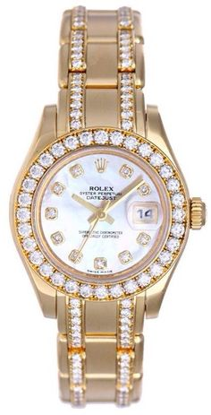 Women watches: BROWSY Found: $52,706.00 Rolex Rolex Masterpiece Mother Of Pearl Diamond Dial And Bezel Diamond Pearl Master 18k Yellow Gold Bracelet Ladies Watch.