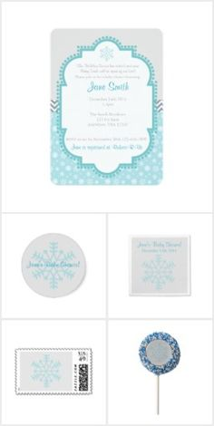 Teal Snowflake Baby Shower Collection