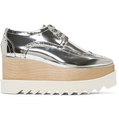Stella McCartney Silver Elyse Platform Brogues ($1,085) ❤ liked on Polyvore featuring shoes, oxfords, silver, lace up shoes, metallic shoes, silver metallic oxfords, brogue oxford and silver oxfords