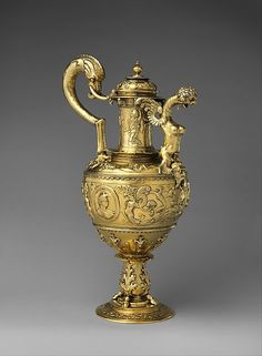 Ceremonial ewer Date: ca. 1520–50 Culture: Portuguese Medium: Silver, gilt; embossed, chased and engraved Dimensions: H. 17 7/8 × W. 11 1/2 in., Wt. 112.7oz. (45.4 × 29.2 cm, 3194g); Diam. of foot: 5 1/2 in. (14 cm) Classification: Metalwork-Silver Credit Line: Purchase, Lila Acheson Wallace Gift, 2013 Accession Number: 2013.950