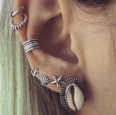 Cute Ear Piercing Ideas at MyBodiArt.com - Antiqued Silver Double Cartilage Ring - Conch Hoop - Seashell Earring - Starfish Seashell Anchor