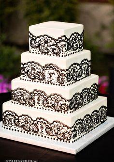 Tiered black lace wedding cake