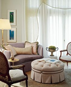 Love the window treatment! Beautiful Bedroom Sitting Areas - Traditional Home®
