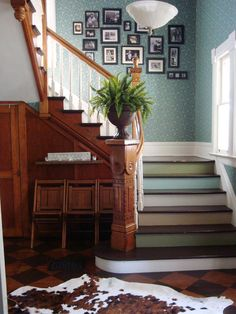 With the white trim we won't have to paint all of the stairway white too.,we can leave some of the natural wood color.