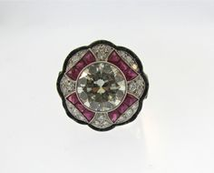1950's Diamond Ruby and Onyx Ring