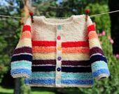 veste effet fourrure 6 mois coloré neuf tricoté main