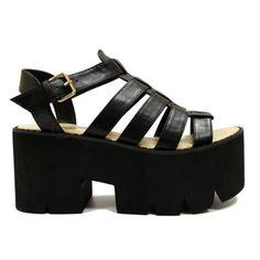 shoes sandals black sandals heel heel sandals vinatge flatforms flatform sandals cleated sole