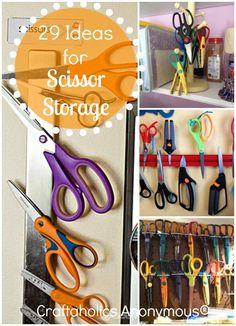 29 Scissor Storage Ideas - organization and storage tips for all your scissors! #scissors #craft_room #organization