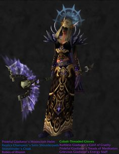 A transmog I made for my shadow priest on World of Warcraft ^_^ Pvp heavy. (She's still level 66 tho)