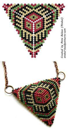 a mosaic weave - free peyote triangle pattern Peyote Stitch Patterns, Seed Bead Patterns, Beaded Jewelry Patterns, Beading Patterns, Bracelet Patterns, Triangle Pattern, Beading Techniques, Beading Tutorials, Craft Ideas