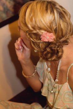 Bridesmaid hair updo. I like the loose braids.